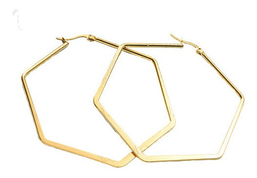 Aretes Acero Inoxidable Color Dorado Figura Hexagonal