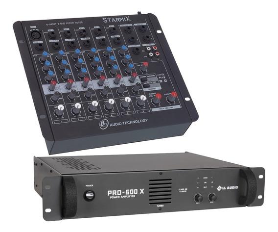 Kit Mesa Som 6 Canais Ll S602r + Potencia Pro600x 150w