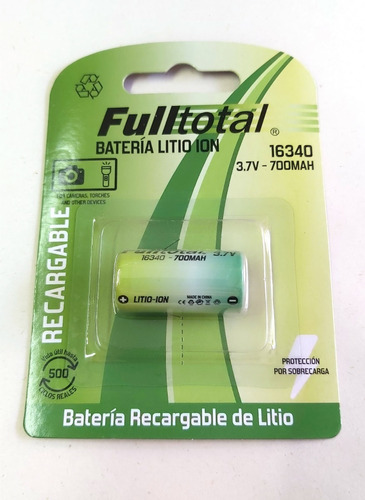 Pila Recargable Cr123 Litio 3,7v Cr16340 Full Total