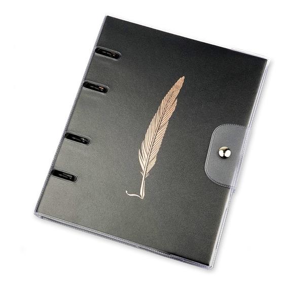 Caderno Fichário Noir Pena - Pvc Argolado