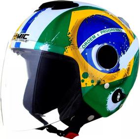 Capacete Moto New Atomic Bandeira Do Brasil Pro Tork