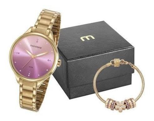 Relógio Mondaine Feminino Dourado Kit Pulseira Linda Foto