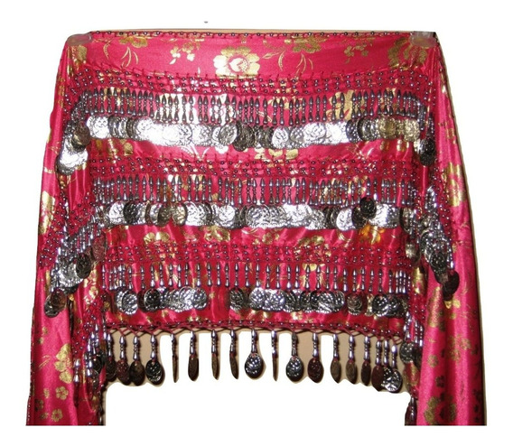 Caderín Danza Árabe Egipcio Recto Raso Estampado 4 Filas Mon