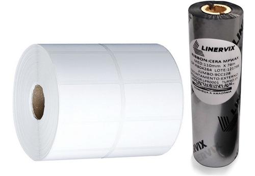 10 Rolos Etiqueta 40x25 Mm 2 Colunas + 5 Ribbons Cera 110x74
