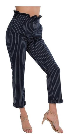 Pantalones Dama Mujer Casuales Flojos Rayas Azul W91101