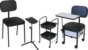 Cadeira Manicure + Cadeira Cliente + Carrinho + Tripé Oferta