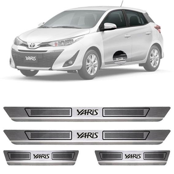Soleira De Aço Inox Escovado Anti-risco Yaris Hatch Sedan