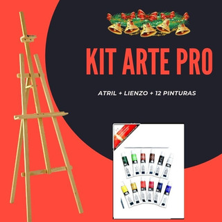 Kit Atril Pintura + 12 Pinturas Acrilicas + Lienzo 50x40