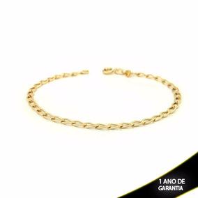 Pulseira Masculina 1x1 Diamantada 4,5mm Banhada A Ouro 18k