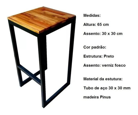 Banqueta 65 Cm Estilo Industrial