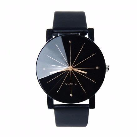 Relógio Quartz Pulseira De Couro Preta
