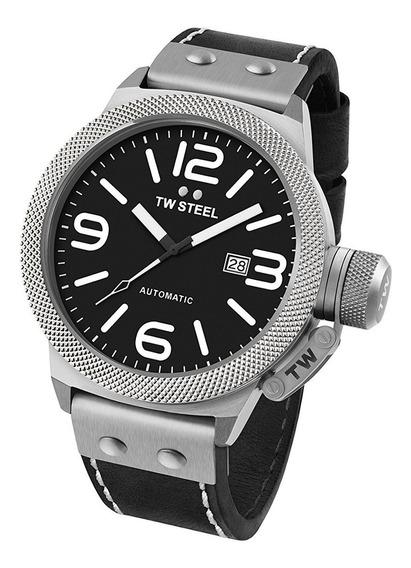 Reloj Tw Steel Cs6 Canteen Automatico 50mm Negro Piel