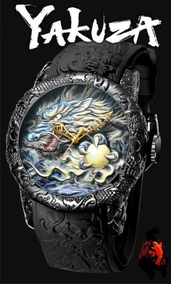 Relógio Yakusa - Dragão - Relógio Grande - Gold Ou Arte