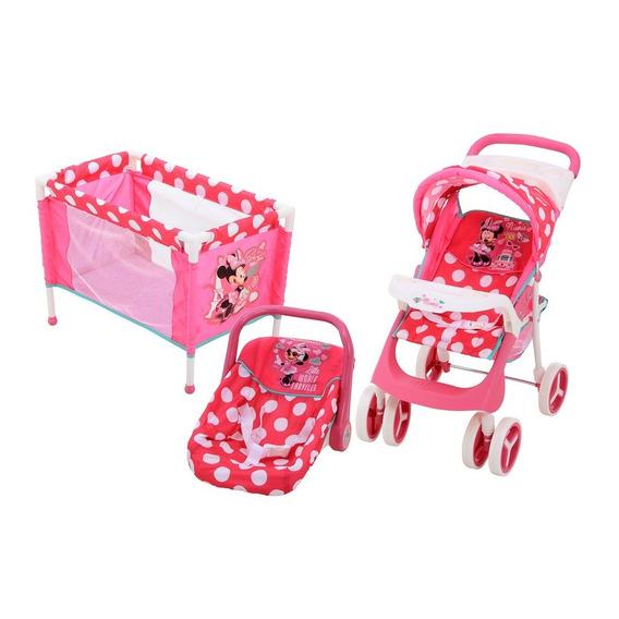 Carriolita Cuna Y Portabebe Para Muñecas Prinsel Minnie Tris