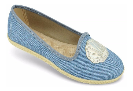 Sapatilha Infantil Feminina Molekinha Textil Jeans