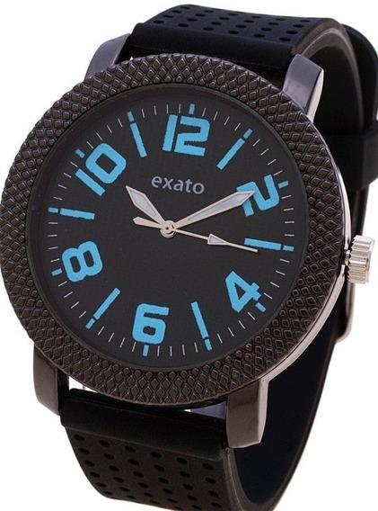 Relógio Masculino Barato Esportivo Exato Preto Azul Borracha