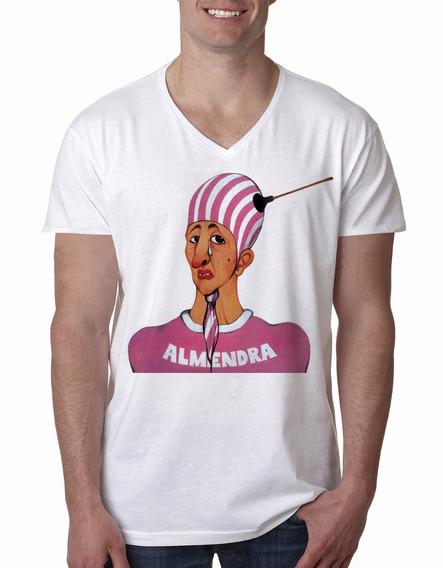 Remera Almendra Spinetta Rock Hombre Escote V Purple Chick