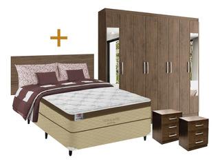 Combo Dormitorio Sommier 2p + Placard + Respaldo + M/ De Luz