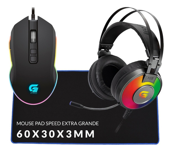 Kit Gamer Pc Headset 7.1 Mouse Usb Mouse Pad Extra Grande Sp