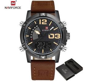 Relógio Masculino Naviforce 9095 Pulseira Em Couro Com Caixa