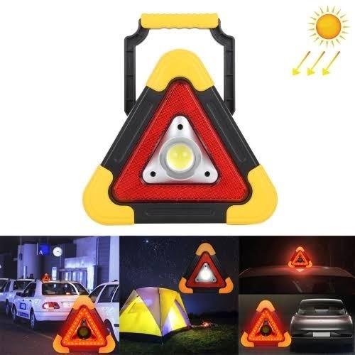 Triângulo Carro Led Luz Solar Sinalizador Segurança Emergência