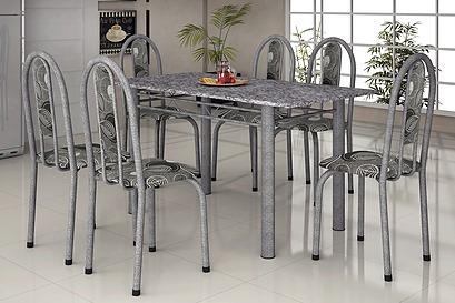 Mesa Para Cozinha Martelada 140x75 Com 6 Cadeiras Só Rj