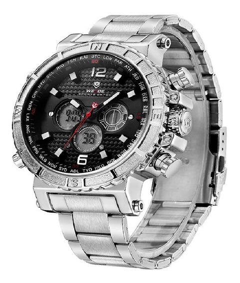 Relógio Masculino Weide Anadigi Wh6305 - Prata E Preto