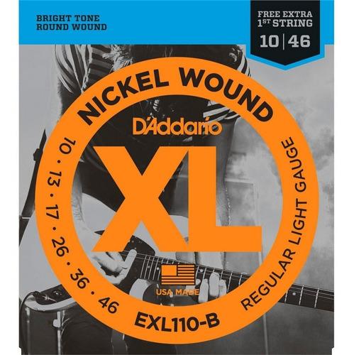 Encordoamento D'addario 010 Guitarra Exl110-b Corda Mi Extra