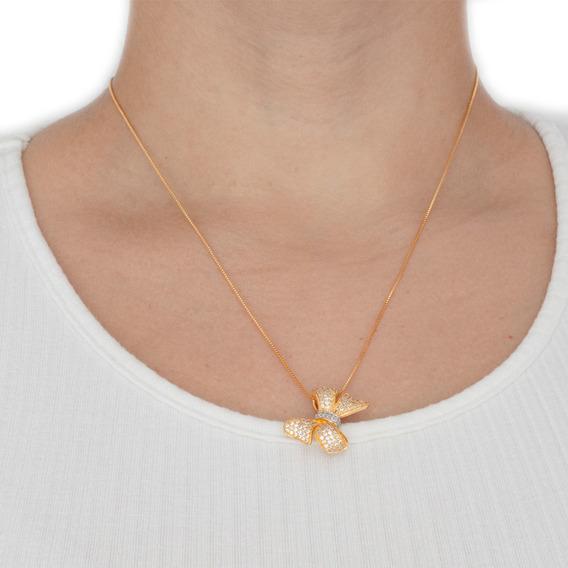 Cordão Colar Feminino Semijoias Pingente Banhado Em Ouro 18k