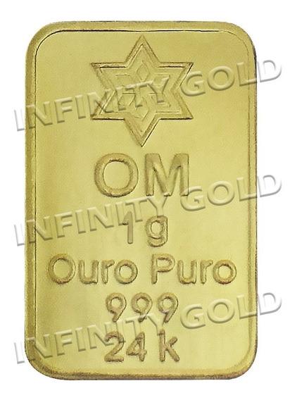 Barra De Ouro Puro 24k - Com Certificado Frete Grátis 1gr