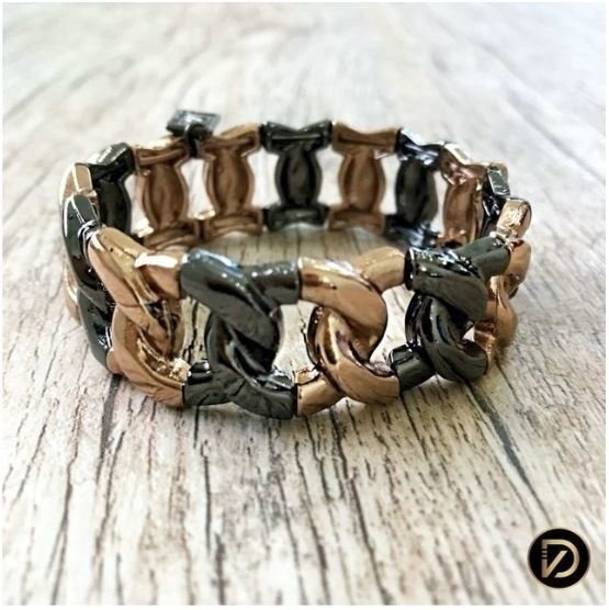 Bracelete Mix Formato Corrente Banho Grafite E Brown Light