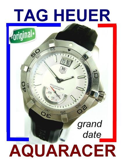 Tag Heuer Aquaracer Grand Date Waf1011 Prata Aço Autêntico!