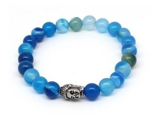 Pulseira Masculina Pedras Naturais Ágata Azul Claro E Escuro