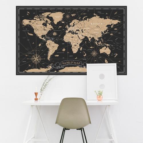 Vinilos Decorativos Mapamundi Mapa Antiguo Planisferio