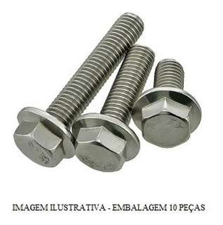 Parafuso Sext Flange M6x18 Cabeca 8mm Tribal Pacote 10 Pcs F