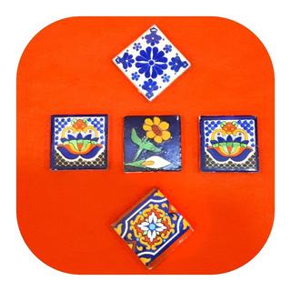 Set De 25 Azulejos De Talavera Poblana 5x5cm Varios Diseños
