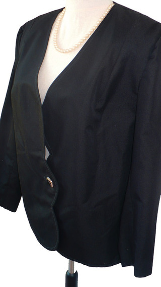 Blazer Negro Borde Blonda Talle L Impecable