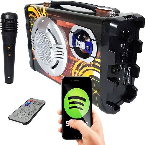 Caixa Som Amplificada Bluetooth Microfone Radio Fm Usb
