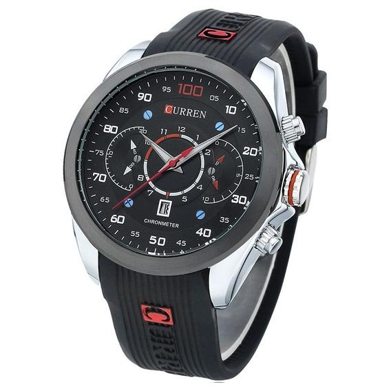 Relógio Masculino Curren Preto E Prata Casual Função Data
