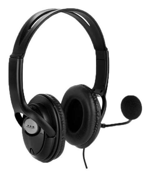 Headphone Com Microfone Para Ps Pc Plug P2 Preto Df-400 Dex