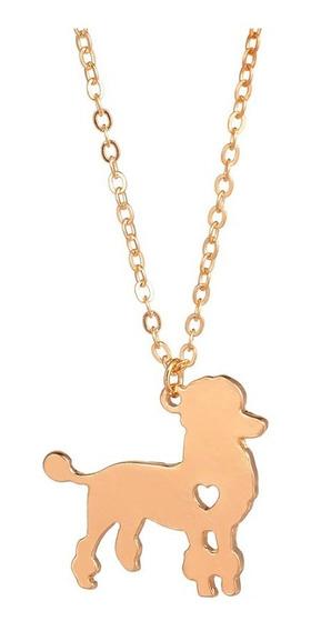 Collar Dorado Poodle De Corazón Dije Perro Joyeria