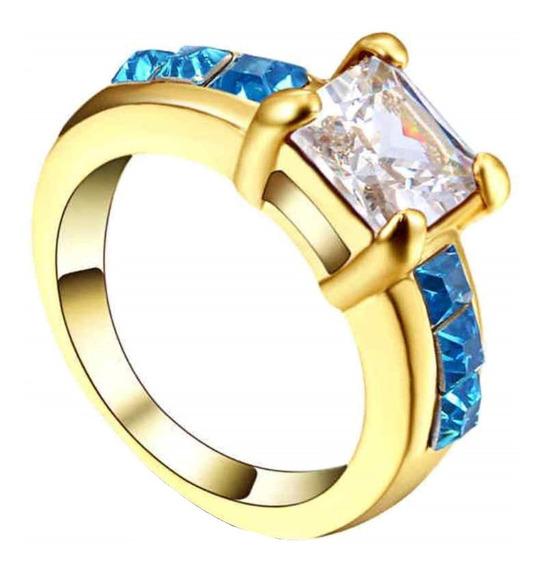 Aro 16 Anel Aliança Feminino Cristal Branco Azul Esperança 269