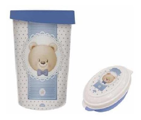 Kit Lixeira E Saboneteira Urso Azul