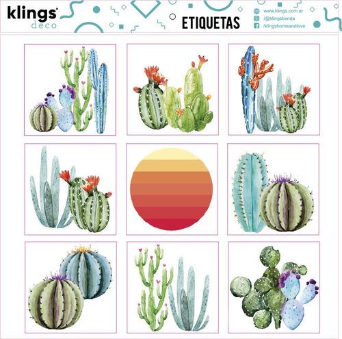 Etiquetas Diseño Cactus  Trasparenes Para Frascos Botellas