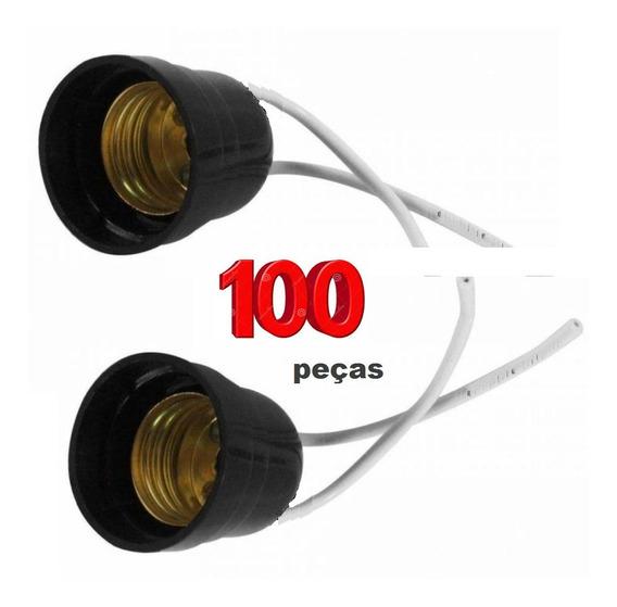 100 Peças Soquete E27 Soquete Preto Com Rabicho Bocal E-27
