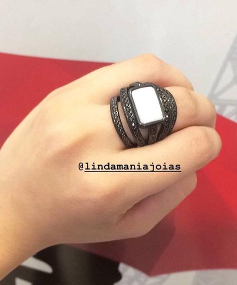 Anel Rodio Negro Com Pedra Branca Todo Cravejado N21