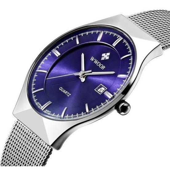 Relógio Masculino Analógico Quartzo Pulseira Aço Importado
