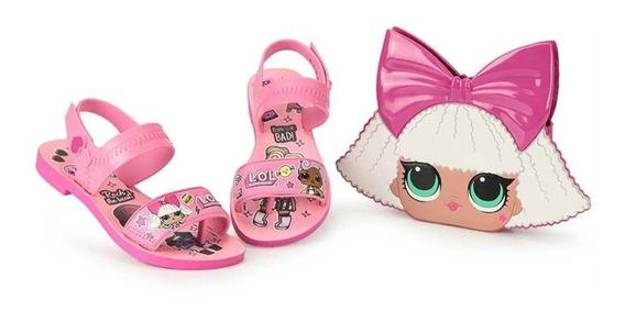 Sandália Infantil Lol Bag -rosa/rosa Glitte Com Uma Bolsa