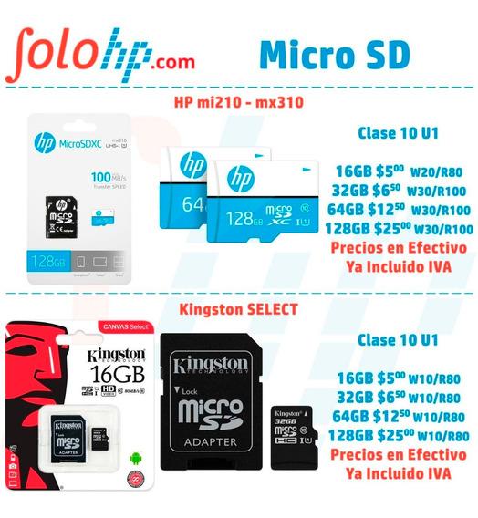 Memoria Micro Sd Hp Kingston 16gb $5 Clase 10 Original Promo
