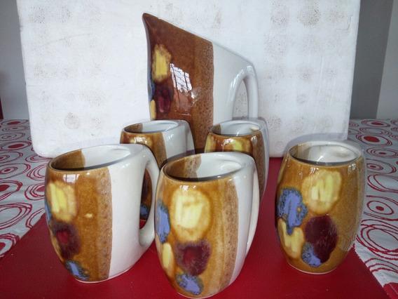 Jarra De Vino, +5 Vasos Ideal Coleccionistas
